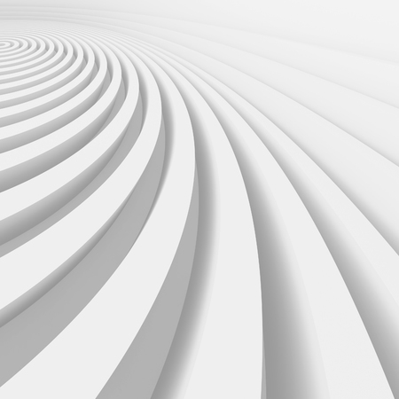 white abstract: Abstract Architecture Background. White Wave Wallpaper. 3d Rendering Image. Minimal Geometric Design Stock Photo