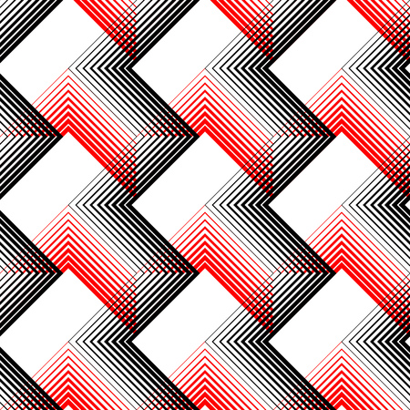 geometric lines: Seamless Stripe and Line Pattern. Vector Black and Red Geometric Texture Illustration