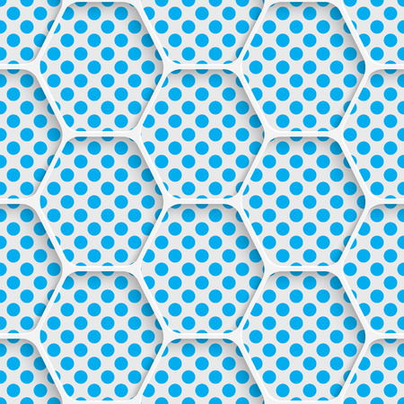 Seamless Hexagon Design. Futuristic Tile Pattern. 3d Elegant Minimal Geometric Background. Abstract White and Blue Grid Wallpaper Illustration