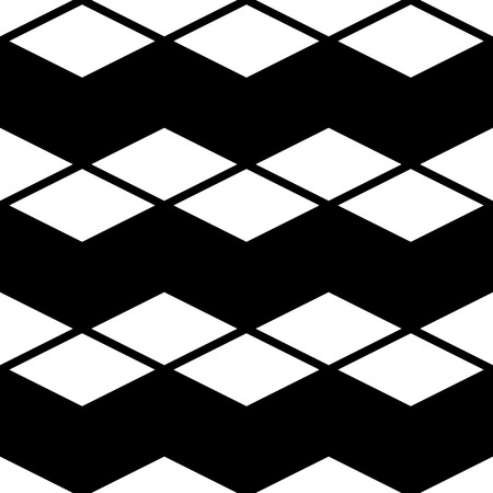 Seamless Cube and Stripe Pattern. Abstract Monochrome Background. Vector Regular Texture Ilustração