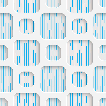 Square Pattern White and Blue Minimalistic Ornament. Geometric Decorative Wallpaper. Ilustração