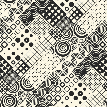 Seamless Geometric Pattern. Vector Black and White Patchwork Background. Abstract Unique Graphic Design