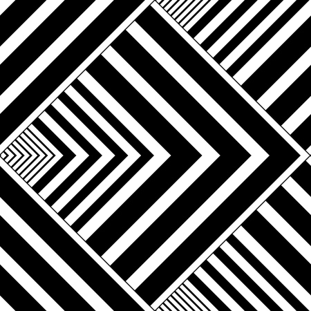 Seamless Square and Stripe Pattern. Abstract Monochrome Background. Vector Regular Texture Illustration