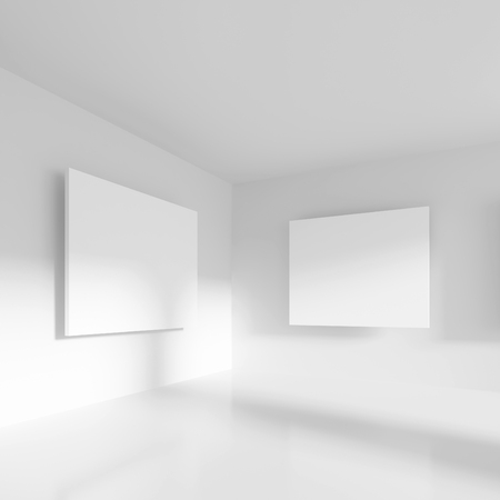 office construction: 3d Rendering of Abstract Gallery Interior. Modern Architecture Background. Minimal White Room Design