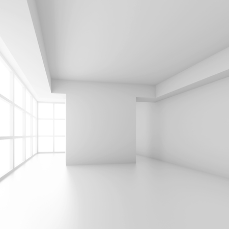 3d Illustration of White Office Interior Design. Empty Room with Window. Abstract Architecture Background Фото со стока