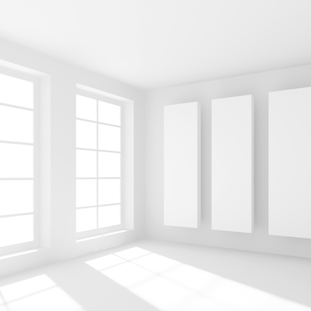 interior window: White Building Construction. Abstract Futuristic Architecture Background. Minimal Office Interior Design. Empty Room with Window. Geometric Shapes Structure. 3d Render