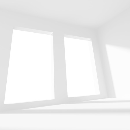 interior window: 3d Illustration of White Office Interior Design. Empty Room with Window. Abstract Architecture Background Stock Photo