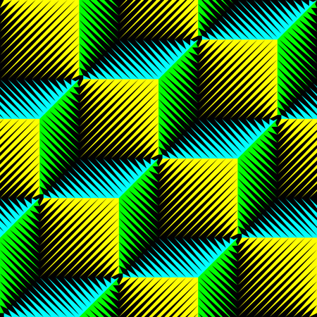 Würfelmuster. Zusammenfassung Verpackung Hintergrund. Vektor RegularGeometric Textur. 3D psychedelische Design