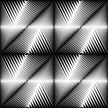 retro pattern: Seamless Crystal Pattern. Vector Black and White Gradient Background. Optical Illusion Wallpaper
