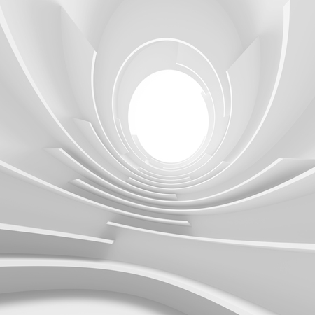light circular: Abstract Architecture Background. White Circular Tunnel Building, 3d Illustration of Light Futuristic Hall. Minimal Technology Render Stock Photo