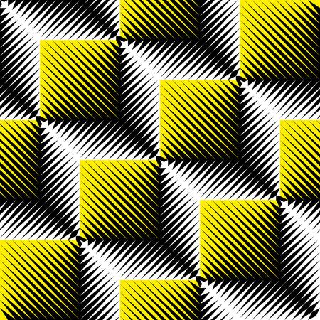 Seamless 3d Cube Pattern. Abstract Futuristic Background. Vector Regular Geometric Texture. Minimal Vintage Ornament