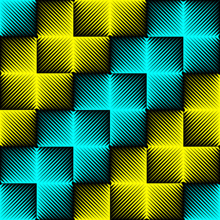 normal: Seamless Neon Light Pattern. Abstract Blue and Yellow Background. Vector Disco Party Wallpaper Design. Abstract Diagonal Stripe Illustration