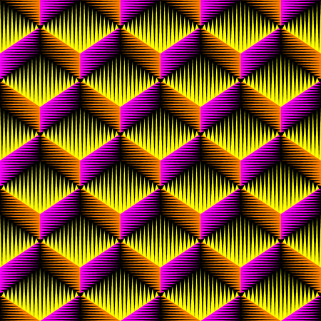 Seamless 3d Cubes Pattern. Vector Wrapping Parer Background. Pink and Orange Fashion Ornament. Decorative Geometric Wallpaper  イラスト・ベクター素材