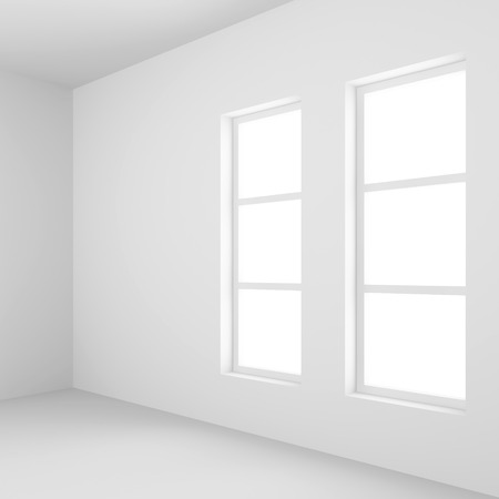 white window: White Empty Room with Window. 3d Rendering of Minimal Office Interior Design. Abstract Futuristic Architecture Background.