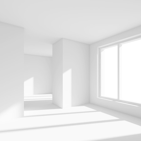 empty office: White Empty Room with Window. 3d Rendering of Minimal Office Interior Design. Abstract Futuristic Architecture Background.