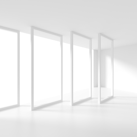 white window: White Empty Room with Window. 3d Rendering of Minimal Office Interior Design. Abstract Futuristic Architecture Background Stock Photo