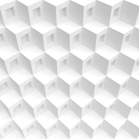 futuristic wallpaper: 3d Rendering of White Cubes Background. Abstract Futuristic Shape Design. Minimal Geometric Wallpaper