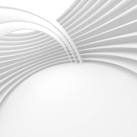 modern house: White Architecture Circular Background. Modern Building Design. Abstract Curved Shapes. 3d Rendering of Minimalistic Wallpaper