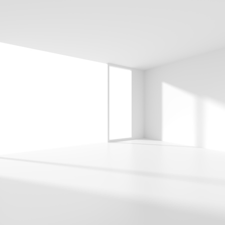 office construction: 3d Render of White Building Construction. Abstract Futuristic Architecture Background. Minimal Office Interior Design. Empty Room with Window. Geometric Shapes Structure Stock Photo