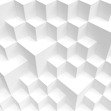 d:  Abstract White Cube Background. #d Illustration of Minimal Web Design. Modern Geometric Wallpaper Stock Photo