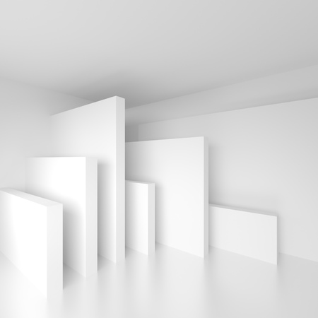 ambience: Abstract Architecture Design. White Modern Background. Minimal Building Construction. Column Interior Concept. 3d illustration of Surreal Futuristic Shapes