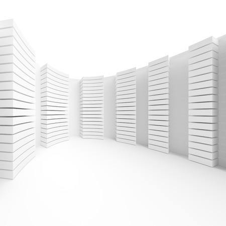 contemporary design: Contemporary Architecture Design. White Minimal Geometric Background. 3d Illustration Stock Photo