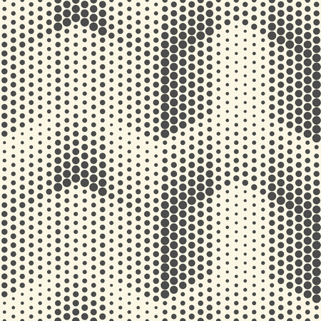 Seamless Halftone Pattern. Vector Black and White Geometric Background. Dots Futuristic Ornament. Abstract Tech Design