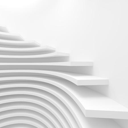 futuristic interior: White Circular Construction. Modern Architecture Background. 3d Rendering. Creative Web Wallpaper