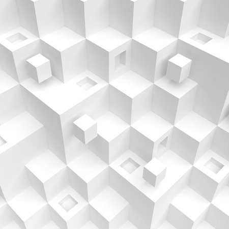 chaotic: 3d Rendering of White Cube Background. Modern Architecture Design. Creative Web Wallpaper Stock Photo