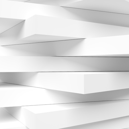 Abstract Monochrome Architecture Background. White Futuristic Building Construction. 3d Rendering