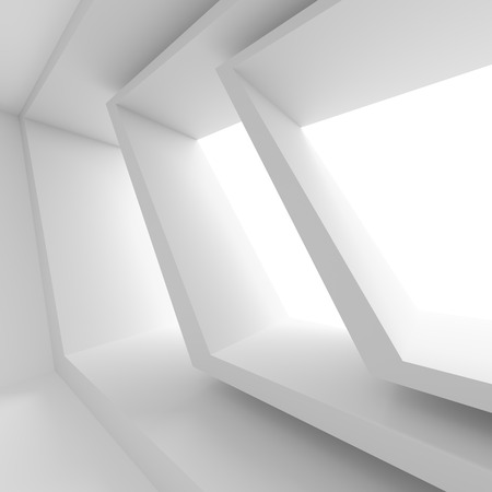 windows frame: Abstract Room with Window. White Modern Interior Background. 3d Rendering