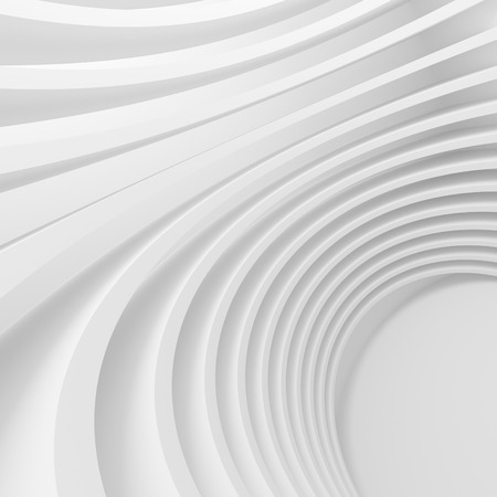 curve: White Architecture Circular Background. Abstract Tunnel Design. Modern Geometric Wallpaper. 3d Rendering
