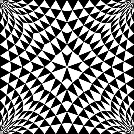 Seamless Cross Pattern. Abstract Black and White Triangle Background. Vector Geometric Regular Texture. Abstract Ancient Crusader Ornament