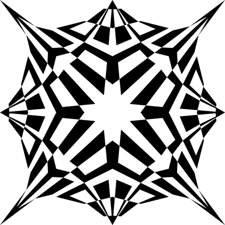 Abstract Monochrome Mandala. Vecror Geometric Flower