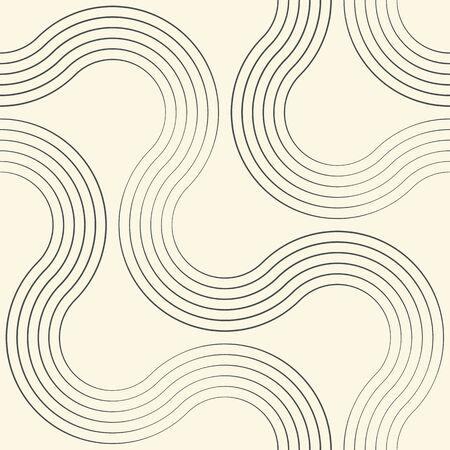 Seamless Curved Stripe Background. Vector Minimalistic Pattern. Monochrome Regular Texture Иллюстрация