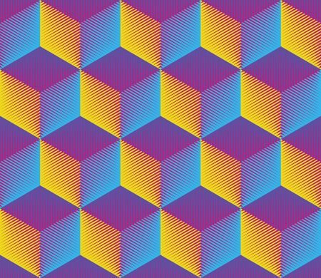 Seamless 3d Cube Pattern. Vector Neon Background. Blue and Yellow Fashion Ornament. Decorative Geometric Wallpaper Ilustração