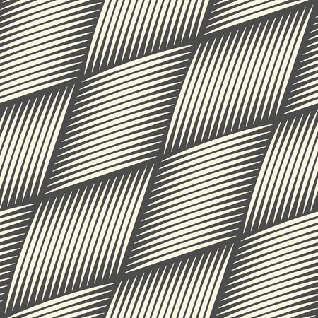 Seamless Woven Background. Monochrome Outline Pattern. Vector Basket Wallpaper
