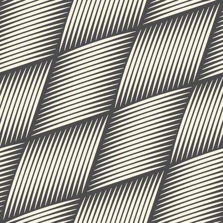 Seamless Woven Background. Monochrome Outline Pattern. Vector Basket Wallpaper