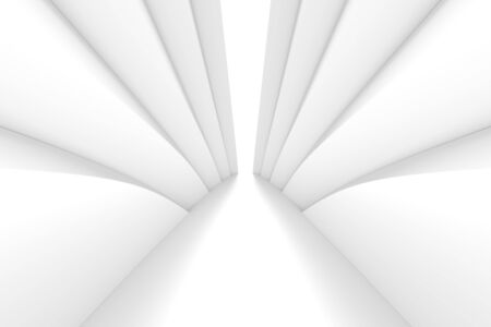 White Wave Background. Abstract Minimal Exterior Design. Creative Architectural Concept. 3d Illustration Imagens