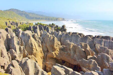 Scenic, wild Pancake Rocks at Punakaiki in New Zealand