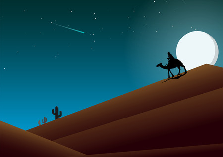 Desert mountains at night, Full moon in the blue sky, Traveling at night, Illustration design.  イラスト・ベクター素材