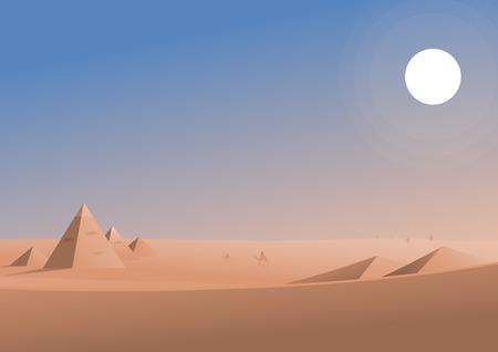 Viajando en la ilustración de la zona desértica, viaje a través de las pirámides y dunas sofocante, diseño vectorial.