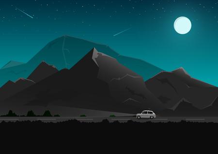 Viaje por el camino de los turistas, a través del bosque y las montañas por la noche, hermoso cielo nocturno, diseño vectorial.