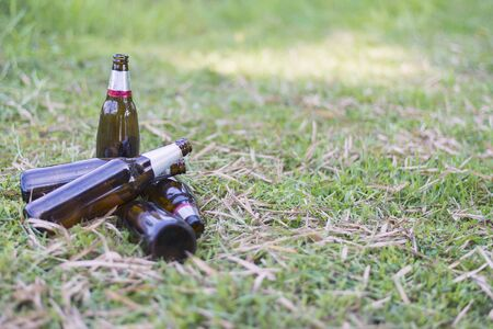 Glass bottles piled on the lawn, Focus on bottle, Environmental concept. Close-up. 스톡 콘텐츠