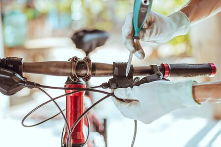 Bicycle repair, Check that gear is ready for use, Close-up 스톡 콘텐츠 - 137876935