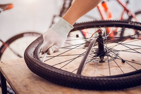 Bicycle tire care, Bike care for cyclist, Close-up. Imagens