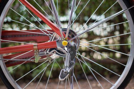 Vintage bicycle, Classic bicycle brake drum, Close-up.