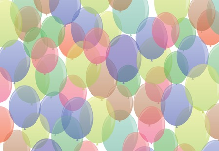 Many-colored ballons fly air in seamless pattern Vector