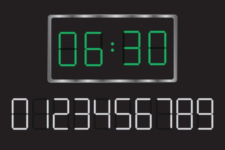 digital indicator: Easy editable vector illustration of a digital clock. Set your time.