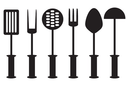 Kitchen tool collection - vector silhouette  kitchen accessories black white Vector